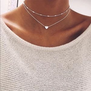 ♡RESTOCKED Simple Heart Necklace Double Layer Cute
